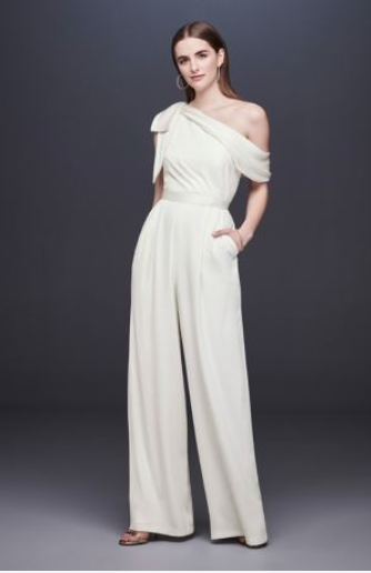 One-Shoulder Crepe Wedding Jumpsuit with Bow - To me this is a show stopper. This is perfect for an edgier look as opposed to a feminine dress! Something like this screams bachelorette party to me but would easily go well in any scenario!