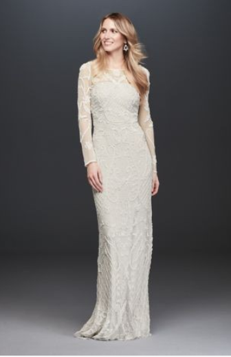 Allover Scroll Beaded Illusion Long Sleeve Gown - This could be perfect for a super boho bridal shower! Imagine wearing a flower crown with this dress! You could even honestly wear this as your real dress on your wedding day! SO GORGEOUS.