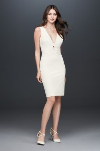 Banded Plunging-V Stretch Crepe Tank Dress - This would be a perfect dress for a night out during your Bachelorette party! Super classy and fun.