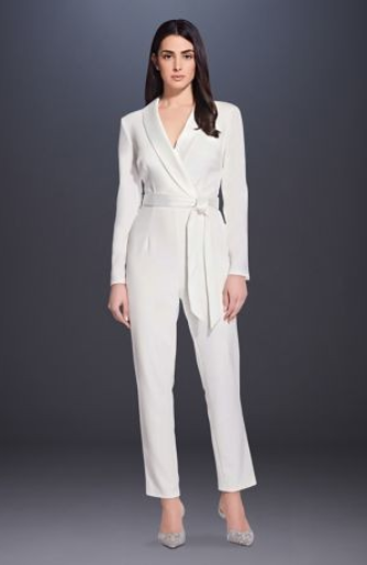 Wrap-Front Tuxedo Jumpsuit with Satin Sash - If you want to make a STATEMENT, this is your look. This outfit will make you look like a total bride boss. It is super striking and so bold. I love everything about it!