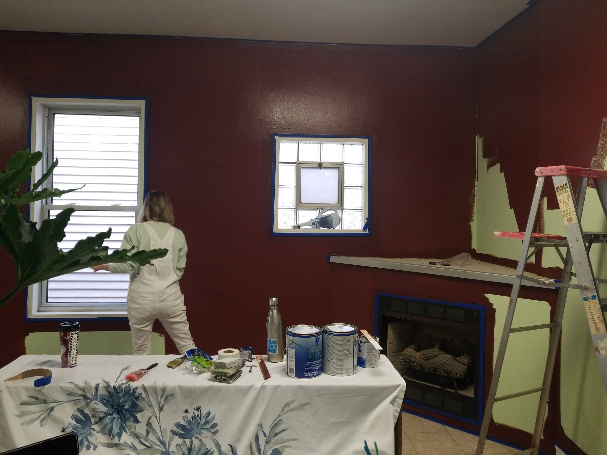 Shannon helping me paint the living room!