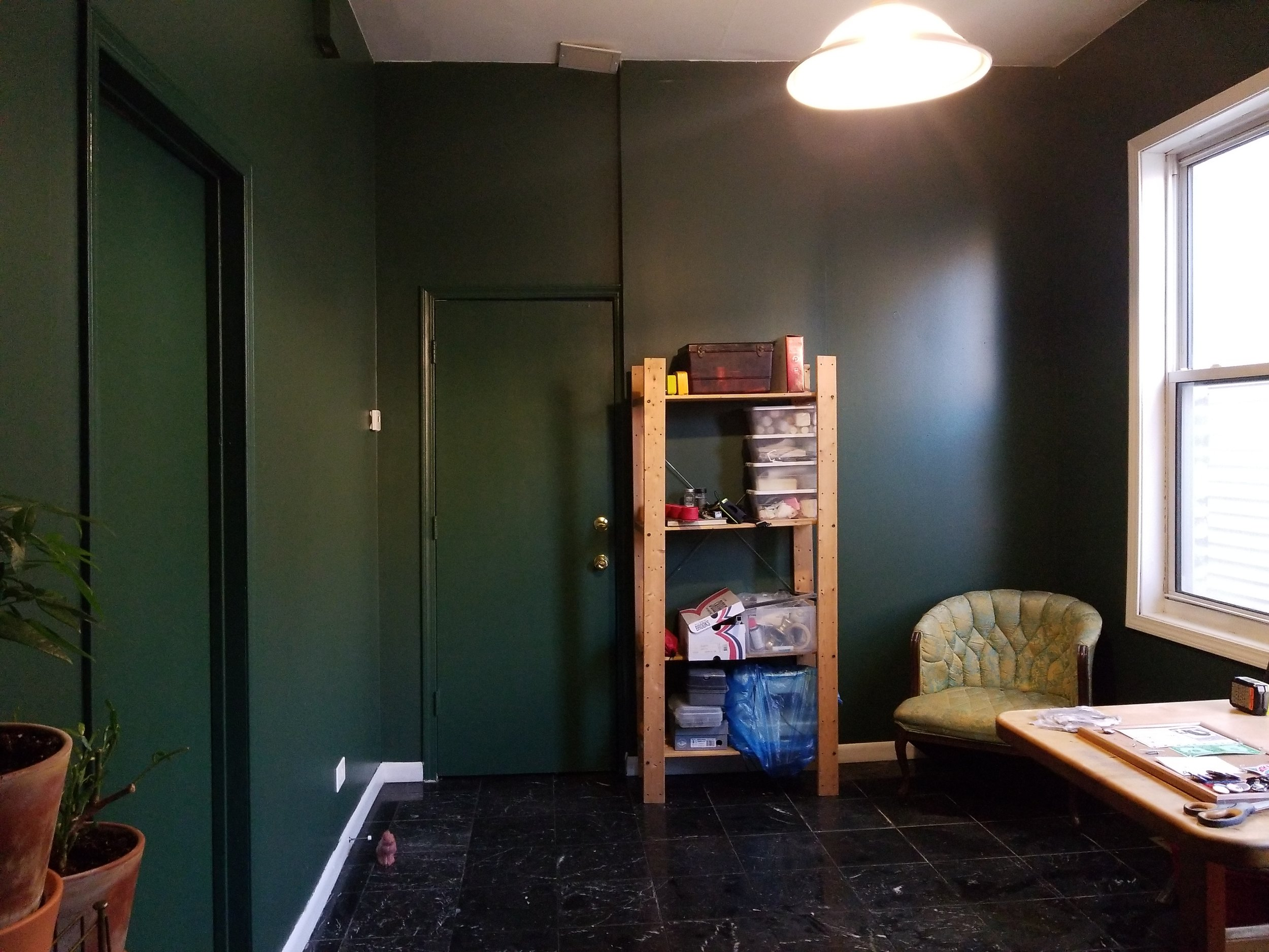 "I painted the doors green, too, in a satin finish, so that when you're in the room, its like your're trapped in there until you get your work done!! I thought painting the door to the front would also separate this area of the house from the ""storefront"" area. (The front is istorefront, zoned for retail.)"