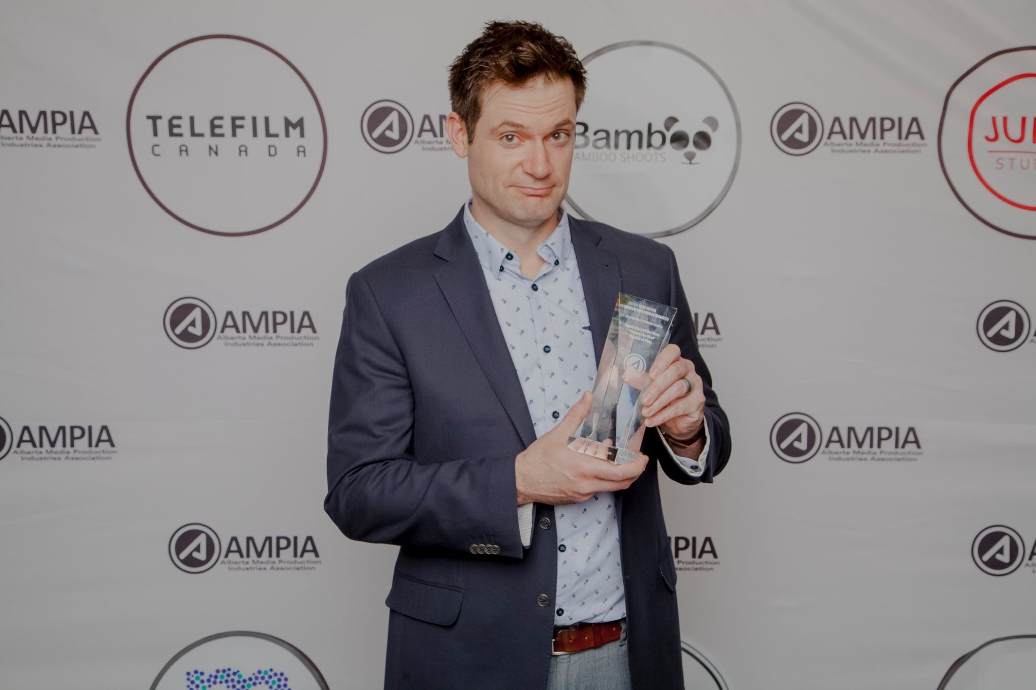 Steve Jodoin and his Alberta Film Award for Best Host - April 27, 2019.