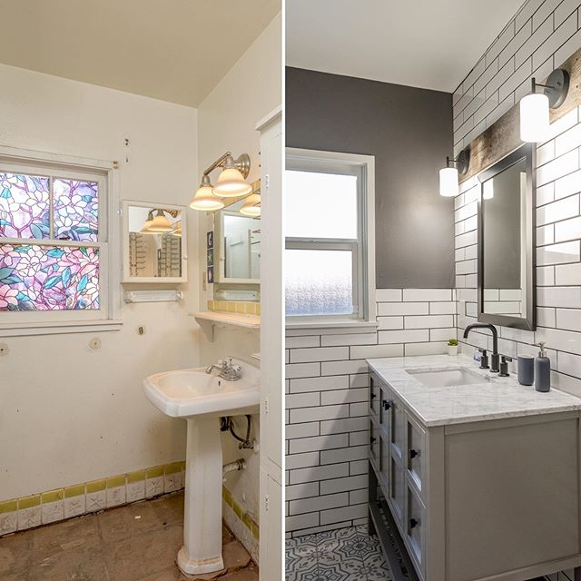 The only thing hotter than this Phoenix weather is this bathroom remodel — HEYOOO 👋  Just kidding, I'm pretty that my heels were about to melt right into the asphalt this afternoon. 😱 Stay safe and cool friends! 🔥 🔥  #transformationtuesday #itsgettinghotinhere