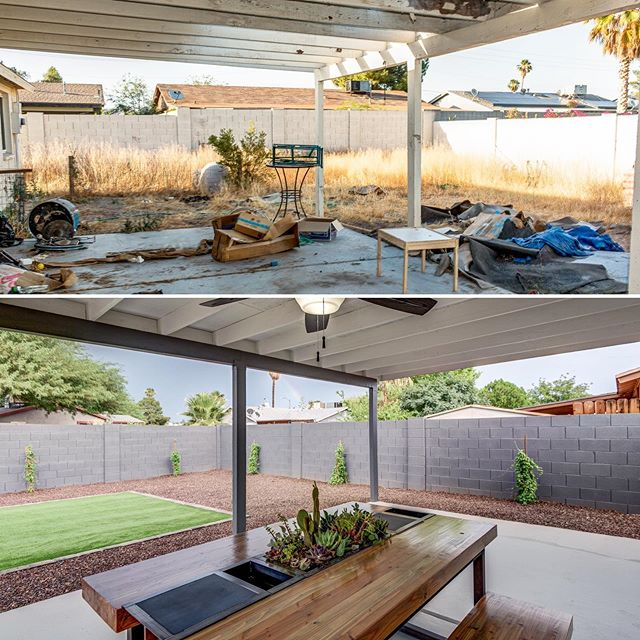 "Easiest way to dress up a back yard?  1. Low maintenance rock/gravel with selective bushy things. 2. A tasteful patch of turf (particularly well-suited for us desert dwellers). 3. Paint the fence. Paint it good.  BOOM. Done-zo. By the way, the sky in the ""After"" photo looks a bit like it does today...could a monsoon finally be rolling in?? PLEASE say yes!!"