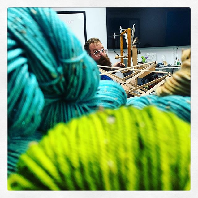 I had to hide in the yarn to spy on Tim doing our prep for #stitchessocal but I think I was spotted! Maybe you'll spot one of the QR codes we've hidden in our booth for the #stitchesscavengerhunt and win an awesome prize! Be sure to visit us for the first look at what we've been working on for 2019's show! @stitchesevents