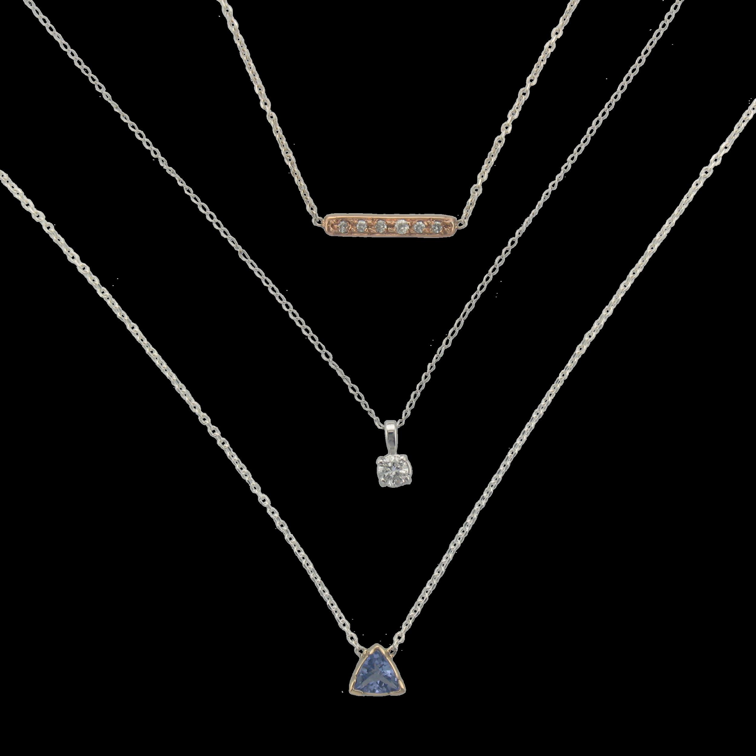 Neck - Gemstones, diamonds, gold, silver. Layer em up.