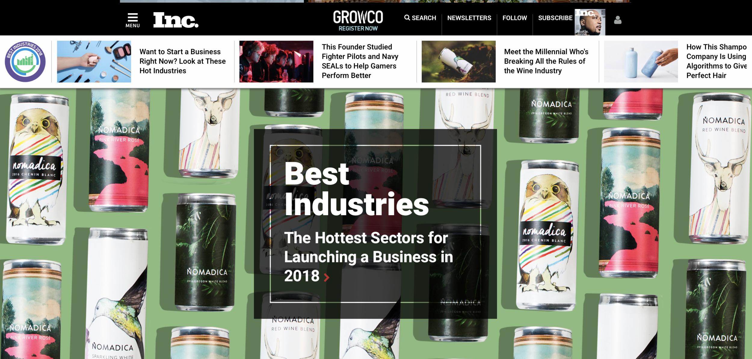 Homepage featuring Inc's Best Industries 2018 (www.inc.com)