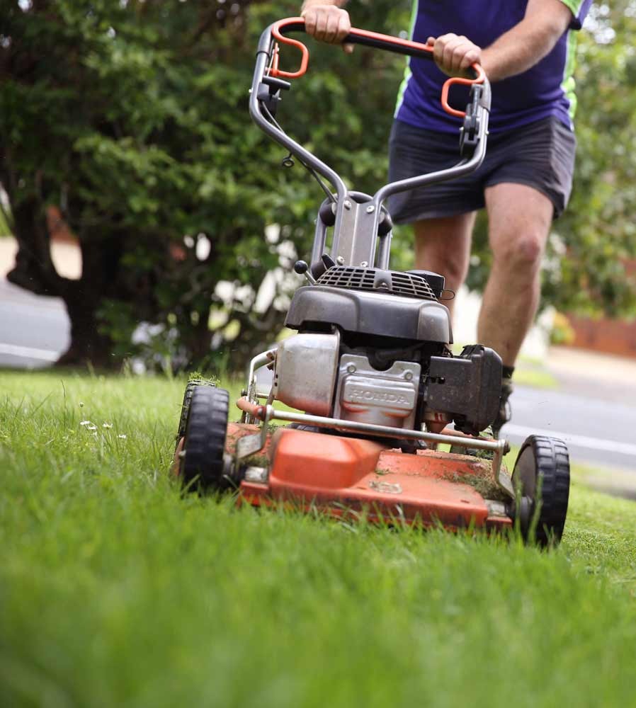 Crewcut operator pushing a lawn mower in grass