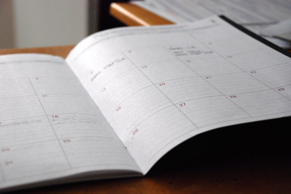 Diary with the planned week