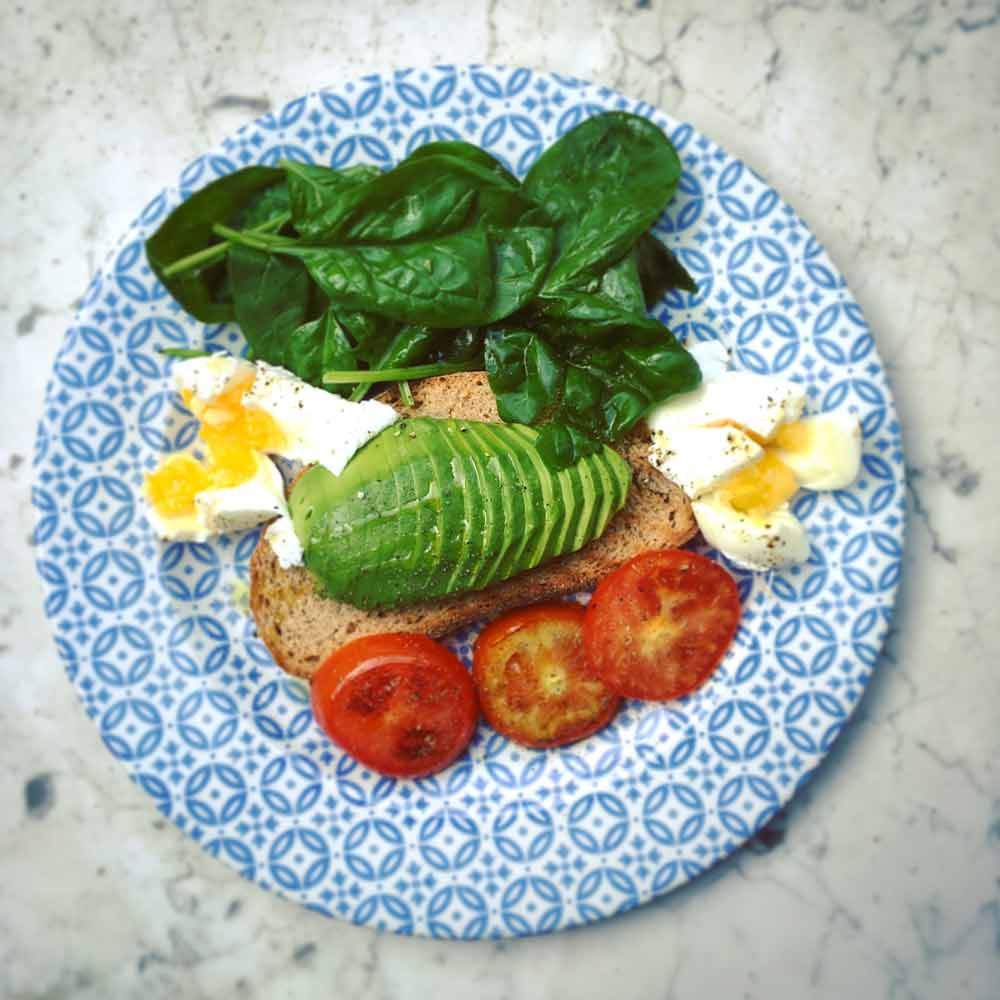 Plate with avocado on toast with eggs, tomato an basil leaves.