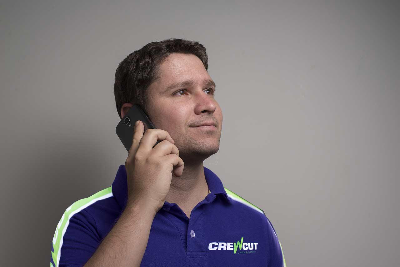 Crewcut operator calling clients