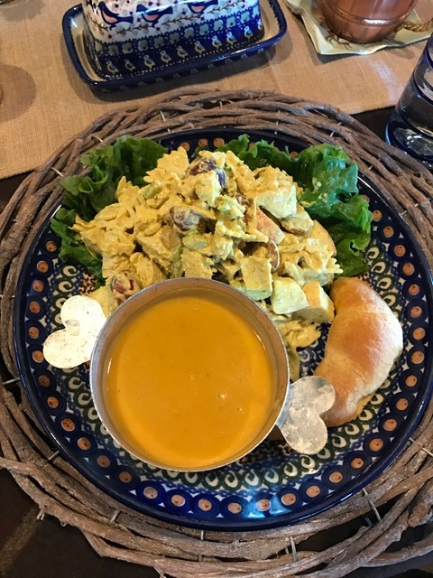 Curry Chicken Pasta Salad seen here with squash soup and a crescent roll.