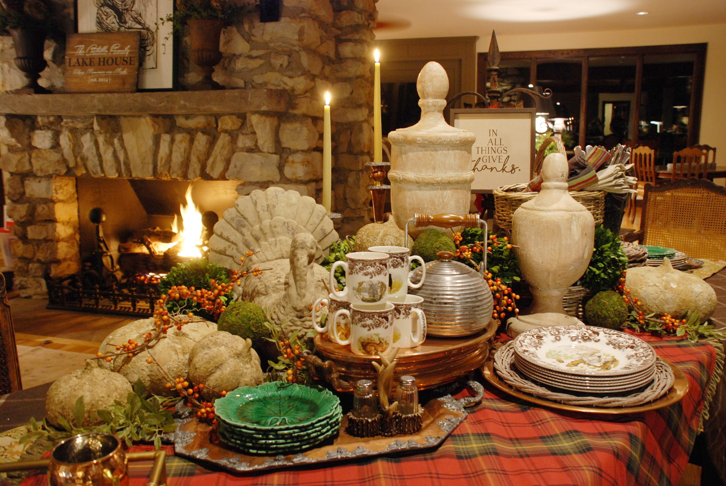 """It's Thanksgiving at Spruce Home and it can be in your home, too with these lovely stone and wood pieces. As the sign says, """"In all things give thanks.""""  Design by Zakk Hoyt"""