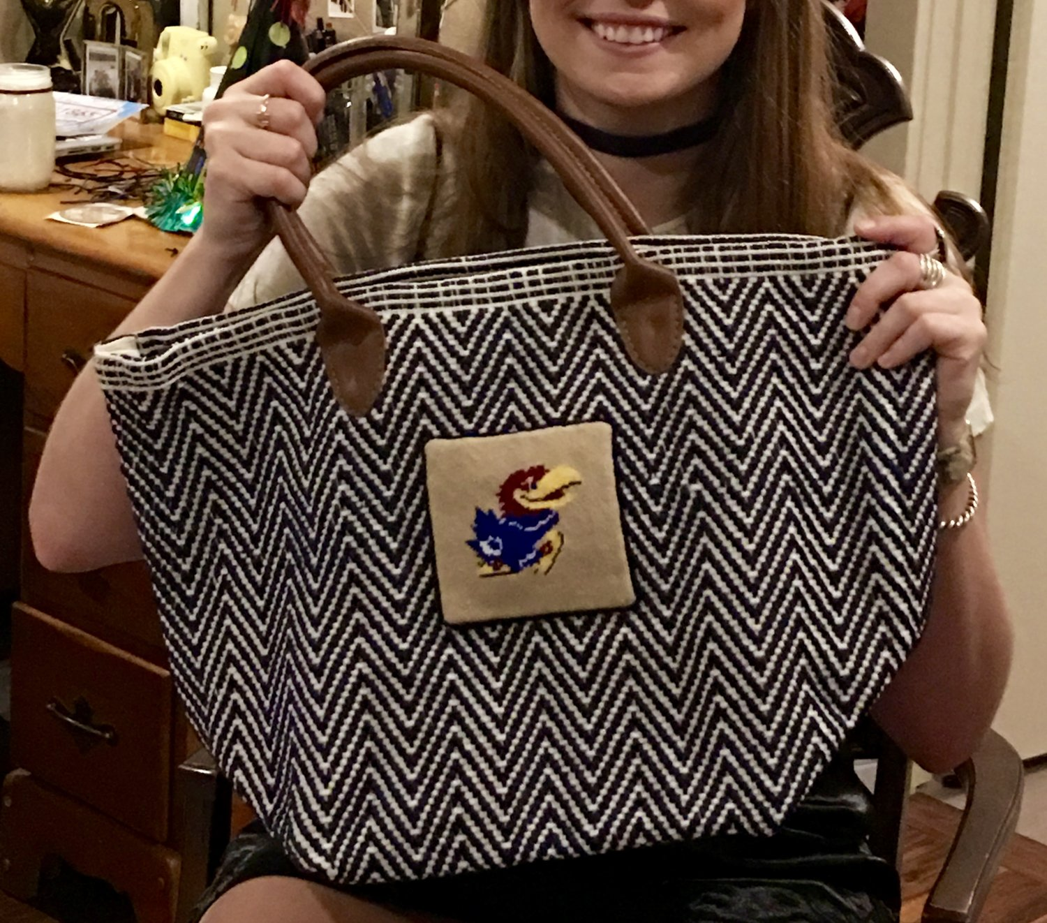 My first project from KC Needlepoint, getting back in the groove. It was a tote bag for my daughter who attends the University of Kansas. She loved it!