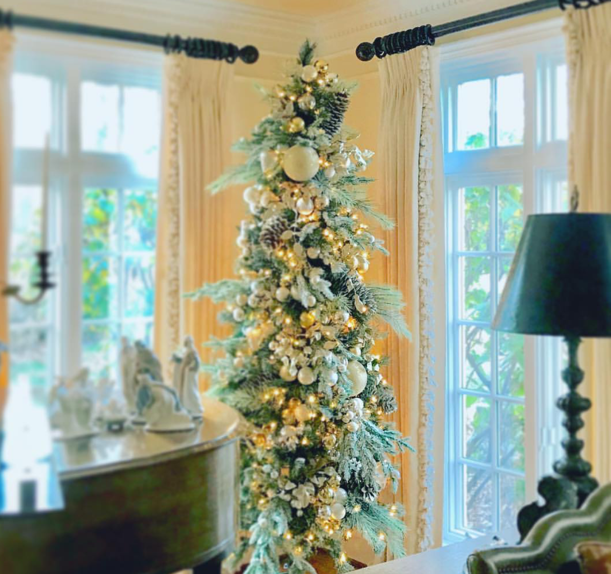 We used frosted greens on our living room tree this year!