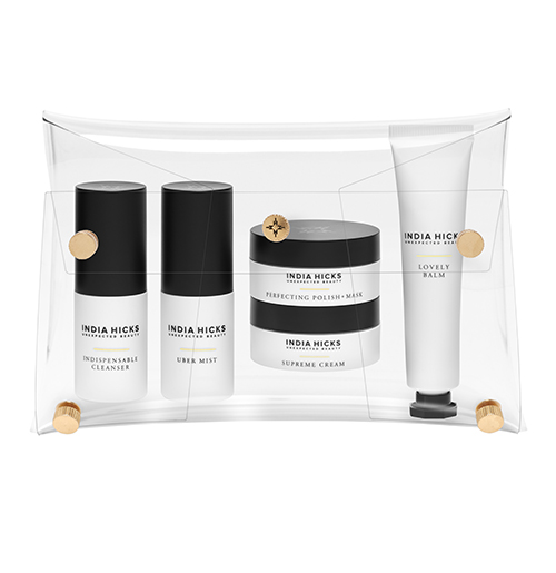 India Hicks Unexpected Beauty Go Bag - My new and favorite skin care is India Hicks Unexpected Beauty. This treasure is a week's worth of everything in a small compact case. India turned 50 this year and decided to collaborate with the experts in the skin care industry to come up with a regime of shorter steps. I like it because the daily routine is only three steps due to each piece being multi-functioning. For example, instead of a separate anti-aging serum, it is built into the Supreme Cream. Try to the Uber Mist for a toner or to freshen up your makeup. And the mask, which I use once to three times a week makes your face feel like a baby's bottom.
