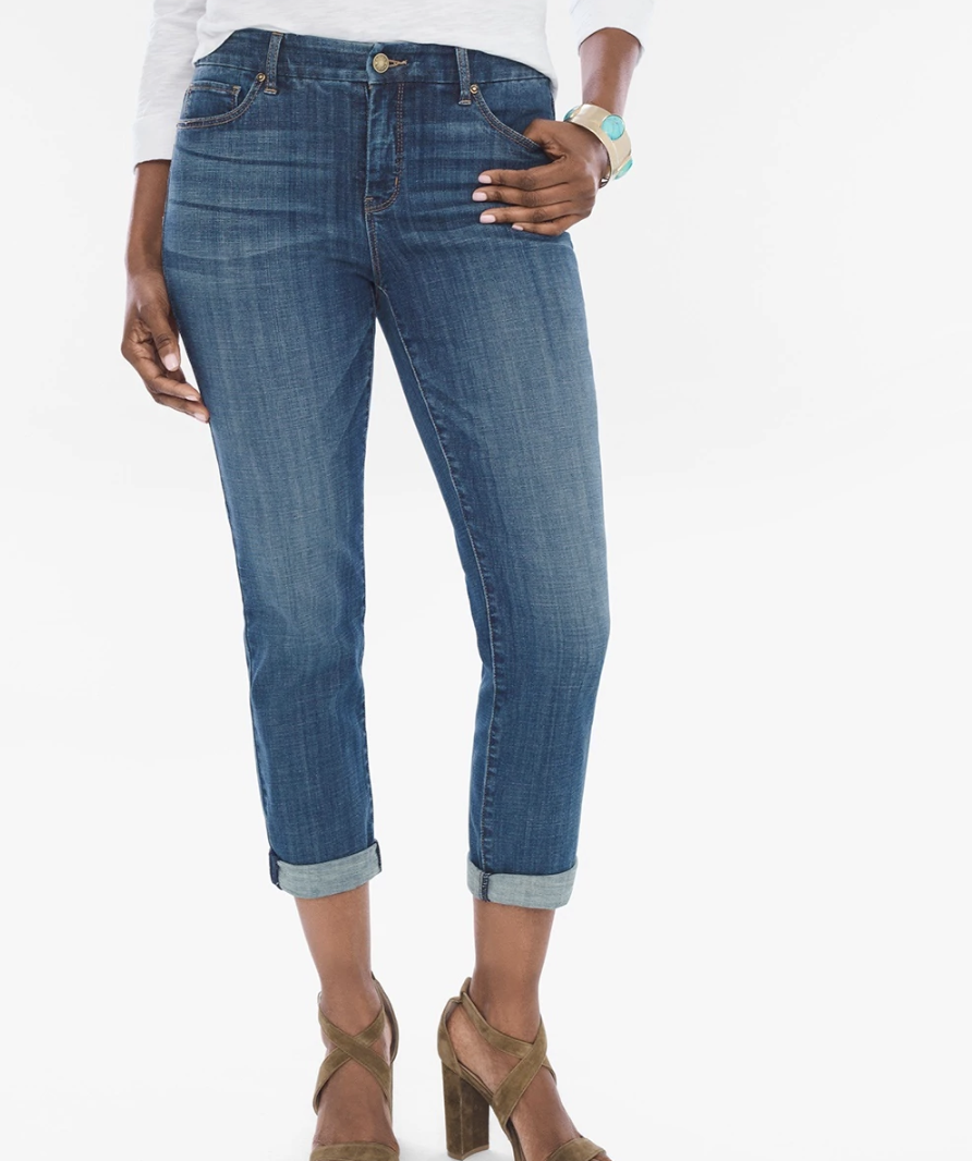 Chico's So Slimming Girlfriend Crop Jean - Cropped jeans are a must in the hot summer months and go perfectly with the cropped white boxy tee above. Chico's makes them extra comfy and stretchy, making you look more slender and definitely chic. The light color, called Bahama Beach, is perfect for the getaway.