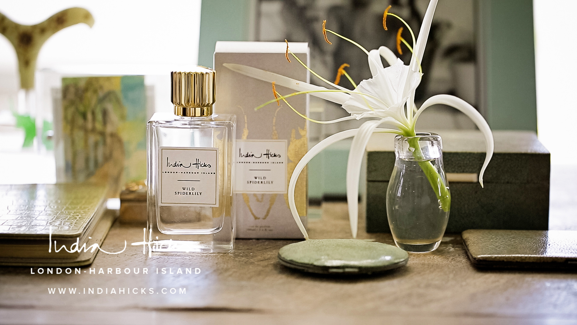 """India Hicks Wild Spiderlily Eau de Parfum - A perfect blend of sweet and spicy, this is the favorite fragrance at India Hicks hands down. The spider lily is a beautiful fragile flower found in the Caribbean and admired by India and her family as they watch it grow out of the pink sand. The type of perfume that you wear and hear everyone say, """"What is that perfume you're wearing?!"""""""