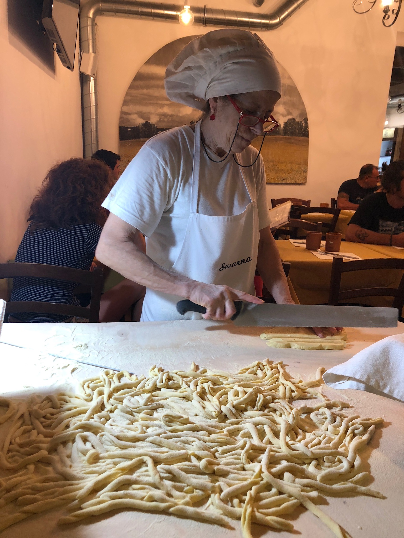 What a treat to watch an Italian chef hand roll the pasta before it was cooked for our dinner! See below for the finished product.