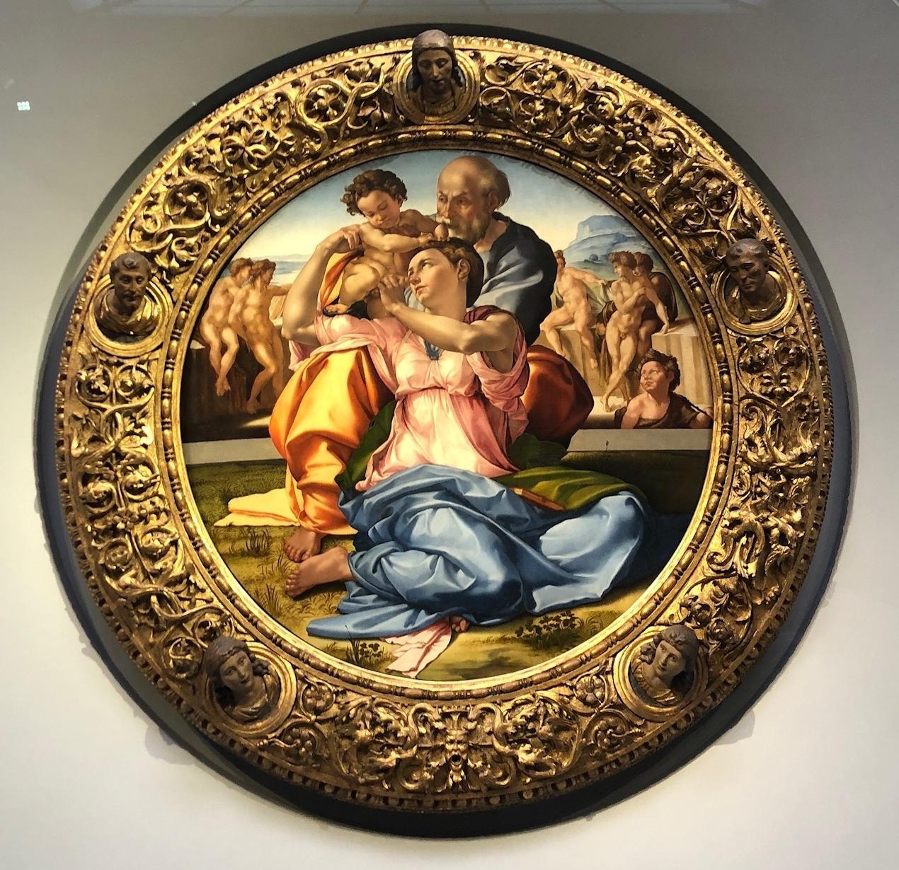 Doni Tondo, circa 1507, oil and tempera on panel by Michelangelo at the Uffizi Museum.