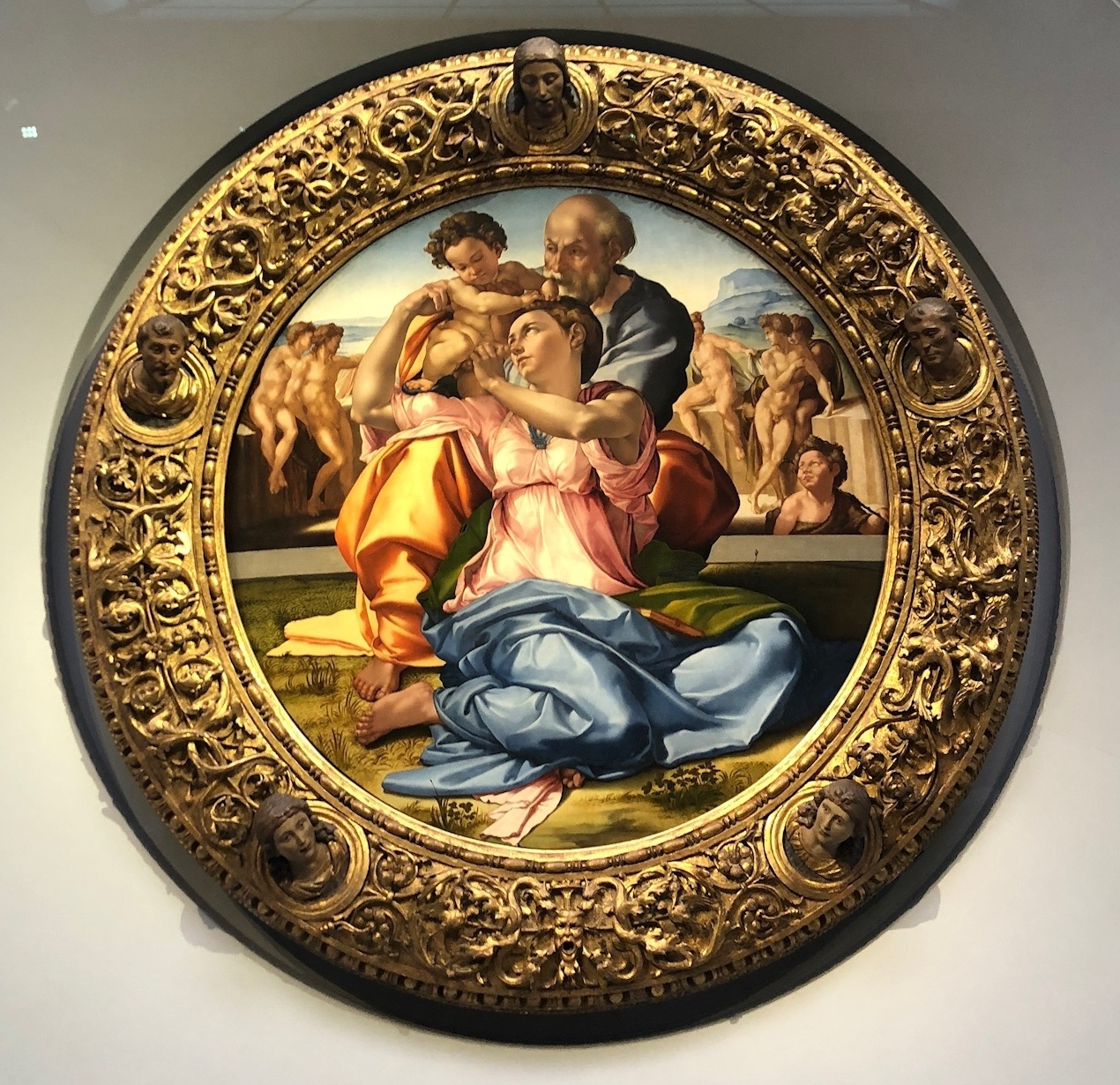Doni Tondo, circa 1507, oil and tempera on panel by Michelangelo at the Uffizi Museum.