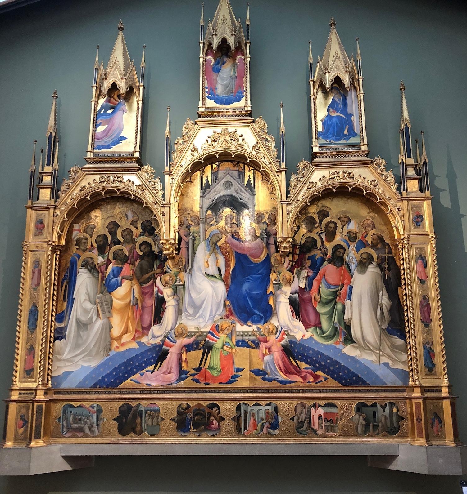Coronation of the Virgin, circa 1414, tempera on wood by Lorenzo Monaco at the Uffizi Museum.