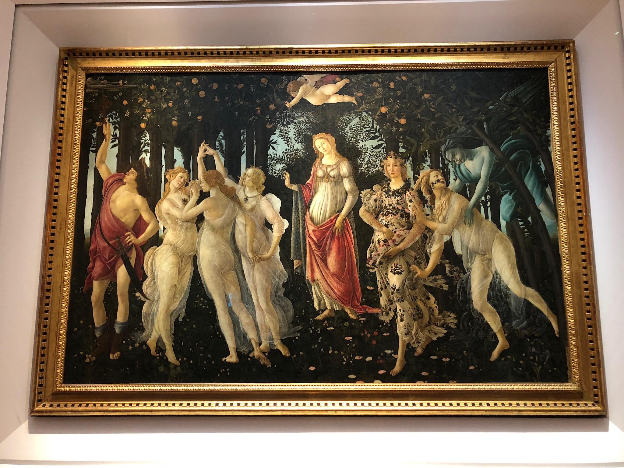 La Primavera (Spring), circa 1480, tempera grass on wood by Botticelli at the Uffizi Museum.