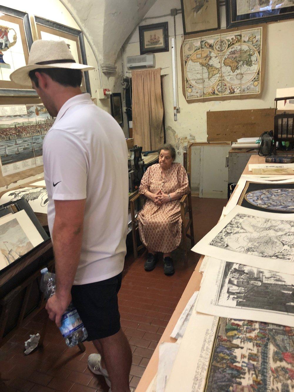 A print-making artisan shop in Florence.