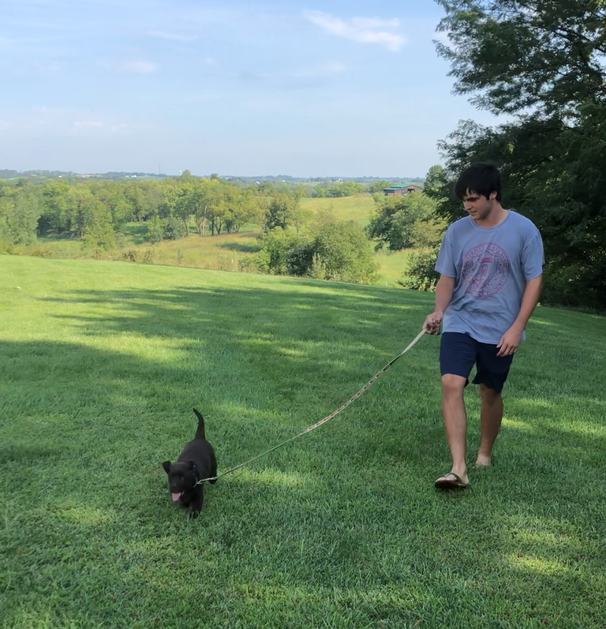 Lucy's first experience with a leash and her new brother at her birthplace in the rolling hills near Weston, Mo. We felt a little guilty taking her away from this beautiful place!