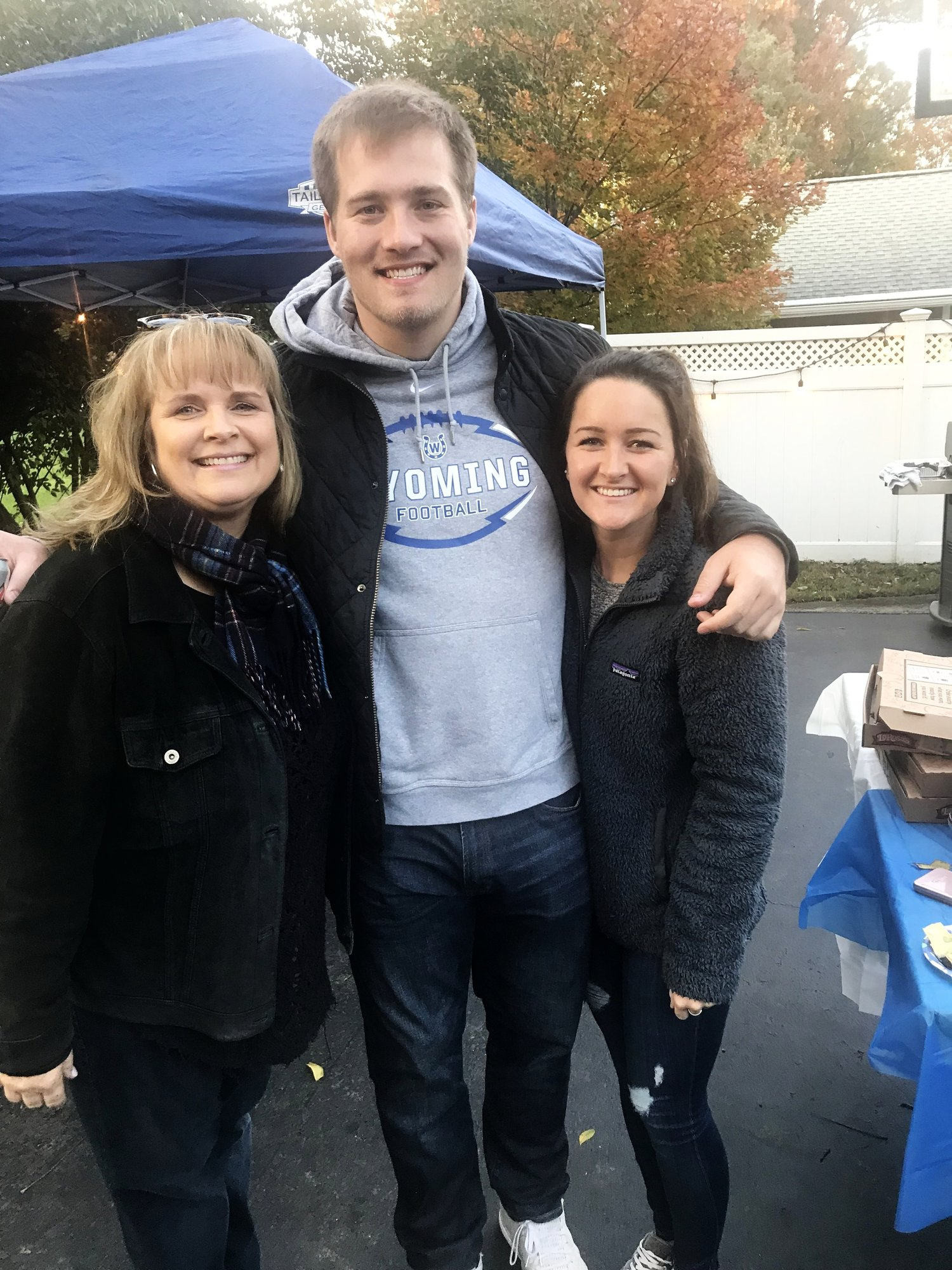 Me with my nephew, Griffin, a former Wyoming football star himself, and his girlfriend, Leah. They live in Indianapolis and came in for the tailgate and playoff game.