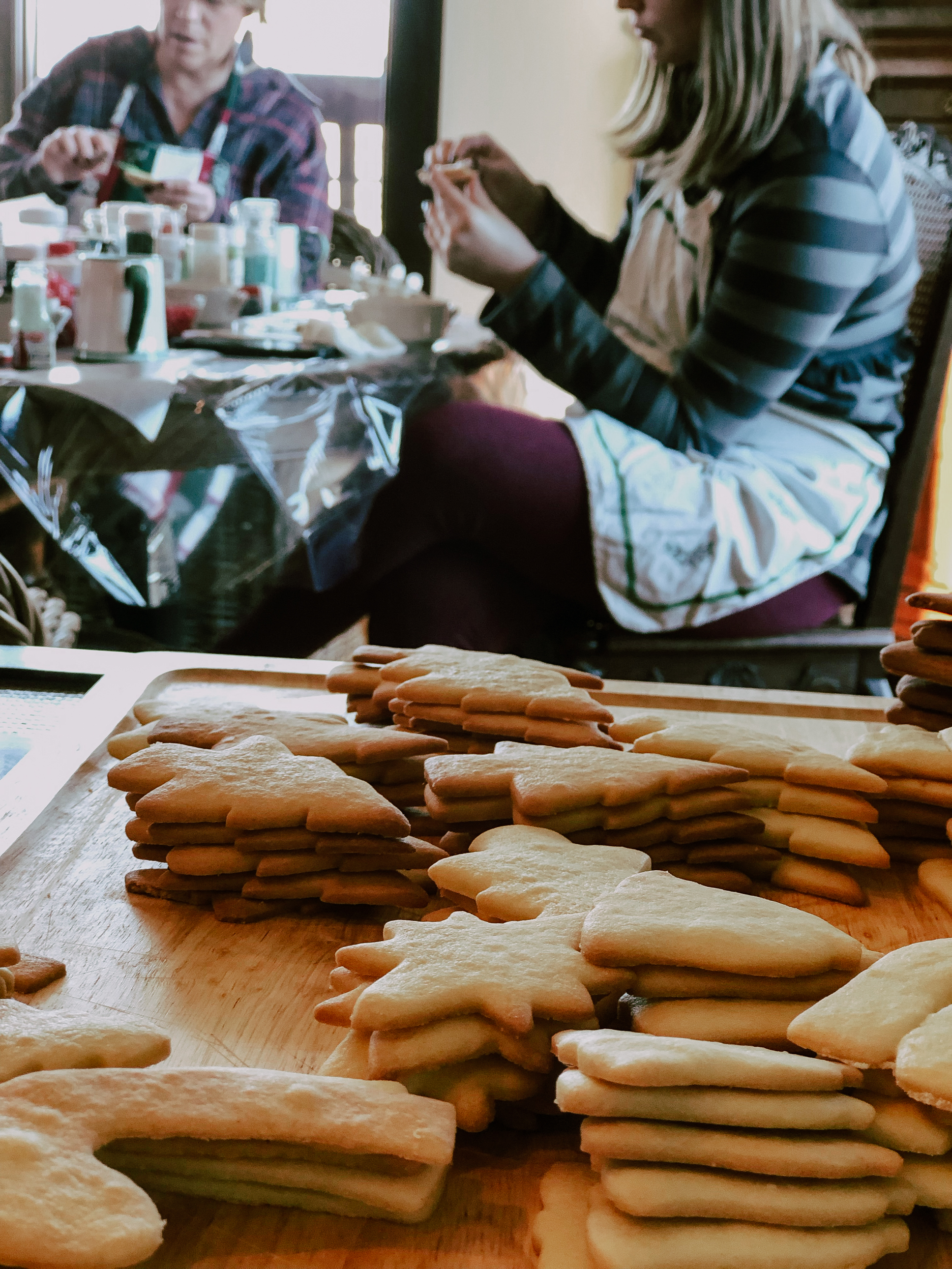 Everyone brings stacks of fresh baked cookies to Decorating Day.
