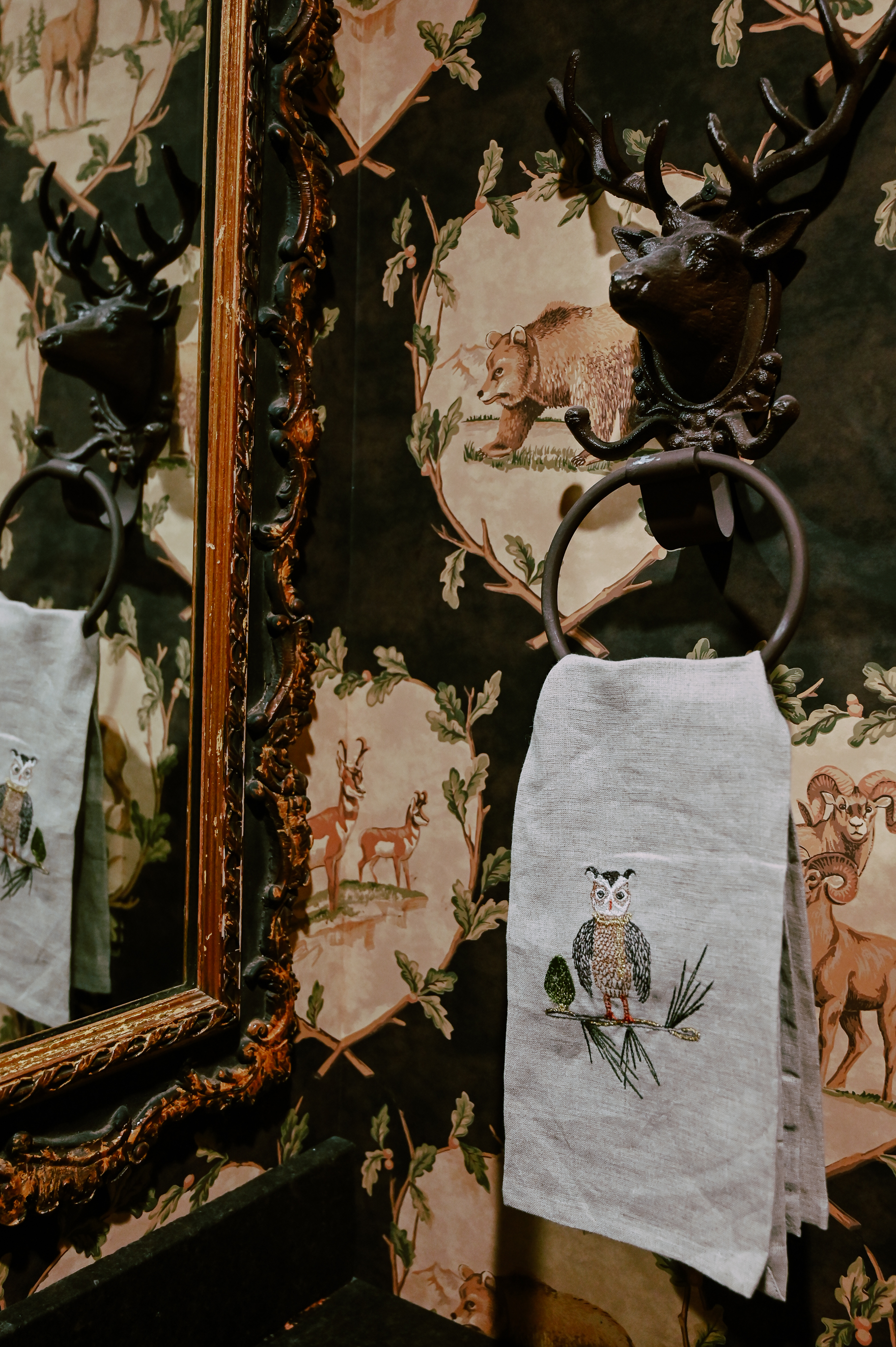 Coral & Tusk is my favorite brand for linen hand towels in a powder room. The designs are wildlife and nature embroidered on unbleached natural linen.