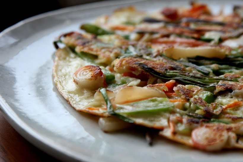 Haemul-Pajeon - Pancake with seafood, spring onion and assorted vegetables.