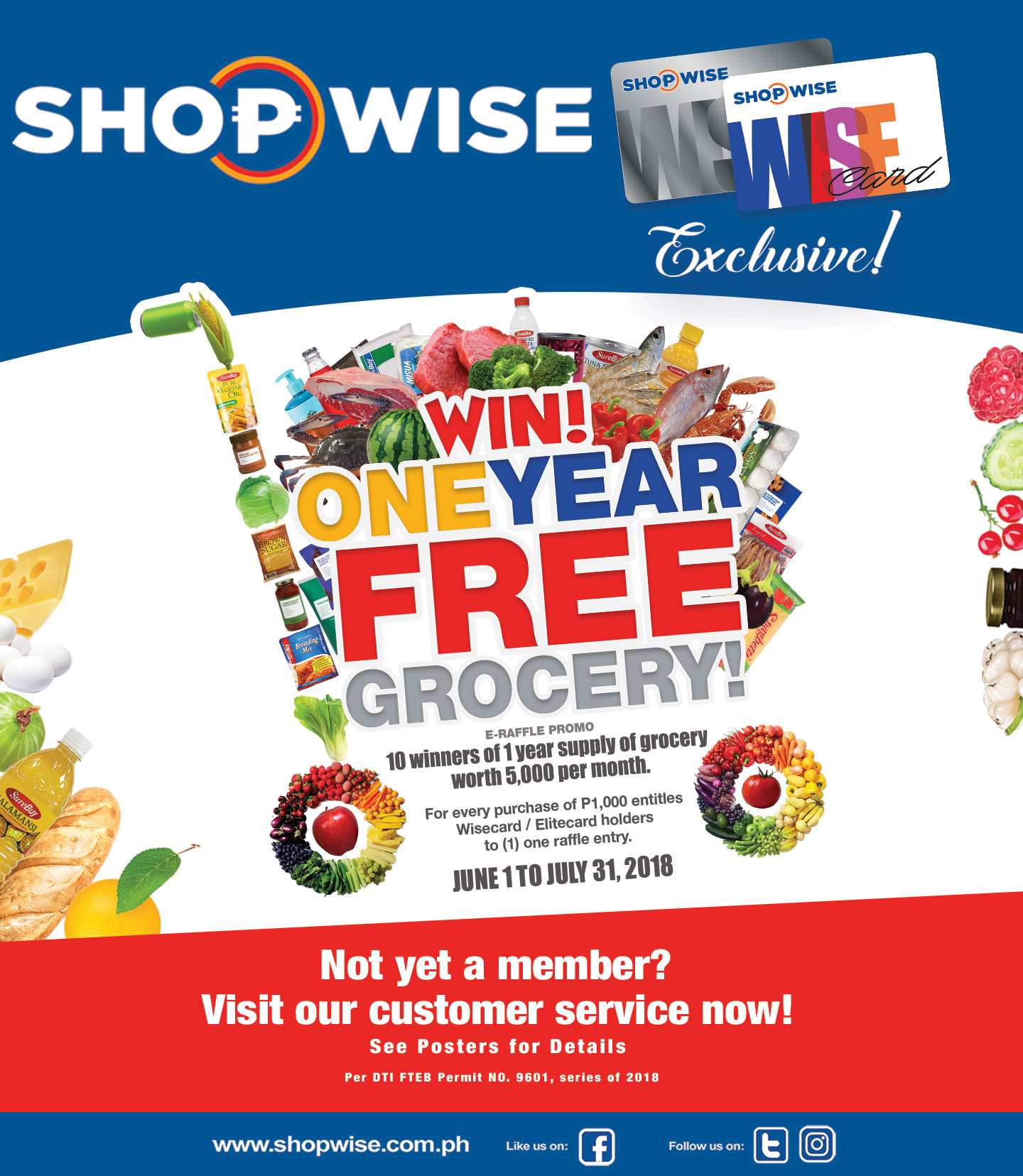 Win One Year Free Grocery!!! - WISE CARD EXCLUSIVE! FREE GROCERIES FOR A YEAR FROM SHOPWISE? YES PLEASE! Be one of the 10 lucky Wise Card holders to win P5,000 worth of groceries for FREE for 1 YEAR! --- Click on the image for further details!