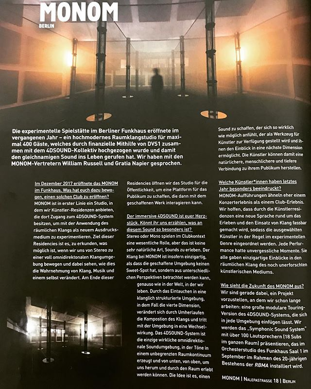 Thanks to @groove_mag for featuring MONOM in their August/September issue. It's been an incredible 9 months! Since our opening last December we've presented 25 @4dsound compositions developed at MONOM and we're just about to unveil the Symphonic Sound System, a floating array of 100+ omnidirectional speakers custom designed and powered by 4DSOUND. You have two opportunities to experience it during @redbullmusic festival. Jlin on 16.09 and Oneohtrix Point Never on 20.09 so don't miss your chance. Thank you for all of our supporters and to the artists dedication thus far. Much more to come! Ticket link in bio. @eccopn @jlin_p #monomsound 📷 by @beccacrawford