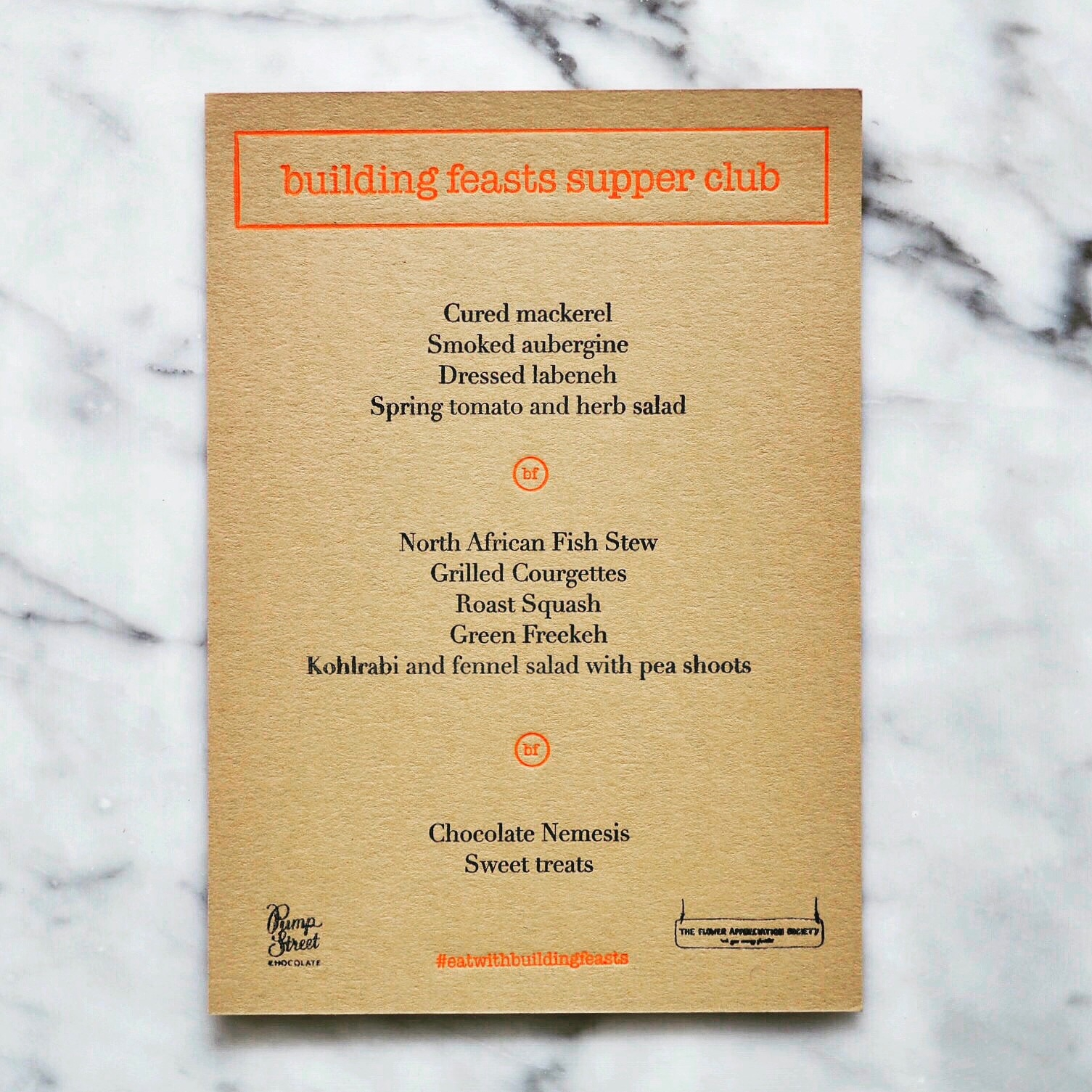 Our First Supper Club menu
