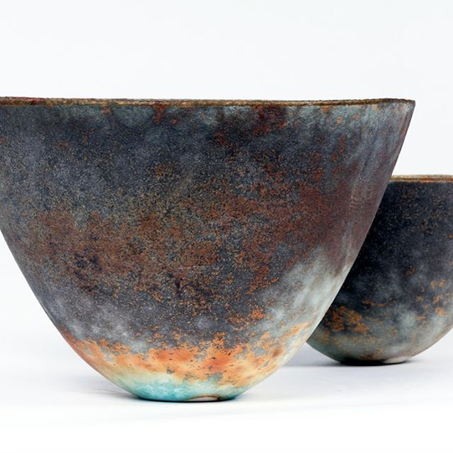 "We will be bringing a selection of conical vessels to @ceramicartlondon from smokey greys to russet and turquoise blues. I am fascinated by this shape, it is deceptive in its simplicity of form. The sculptor Brancusi said ""simplicity is complexity resolved"" Over time my work has been pared down to using one clay, one colouring mineral and one firing. #jackdoherty #sodafired #porcelain #copper #contemporaryceramics #moderndesign #ceramicsartlondon #simplicity #minimalism #contemporarycraft #japaneseceramics #vessels #internationalceramicsfair #making #loveclay"
