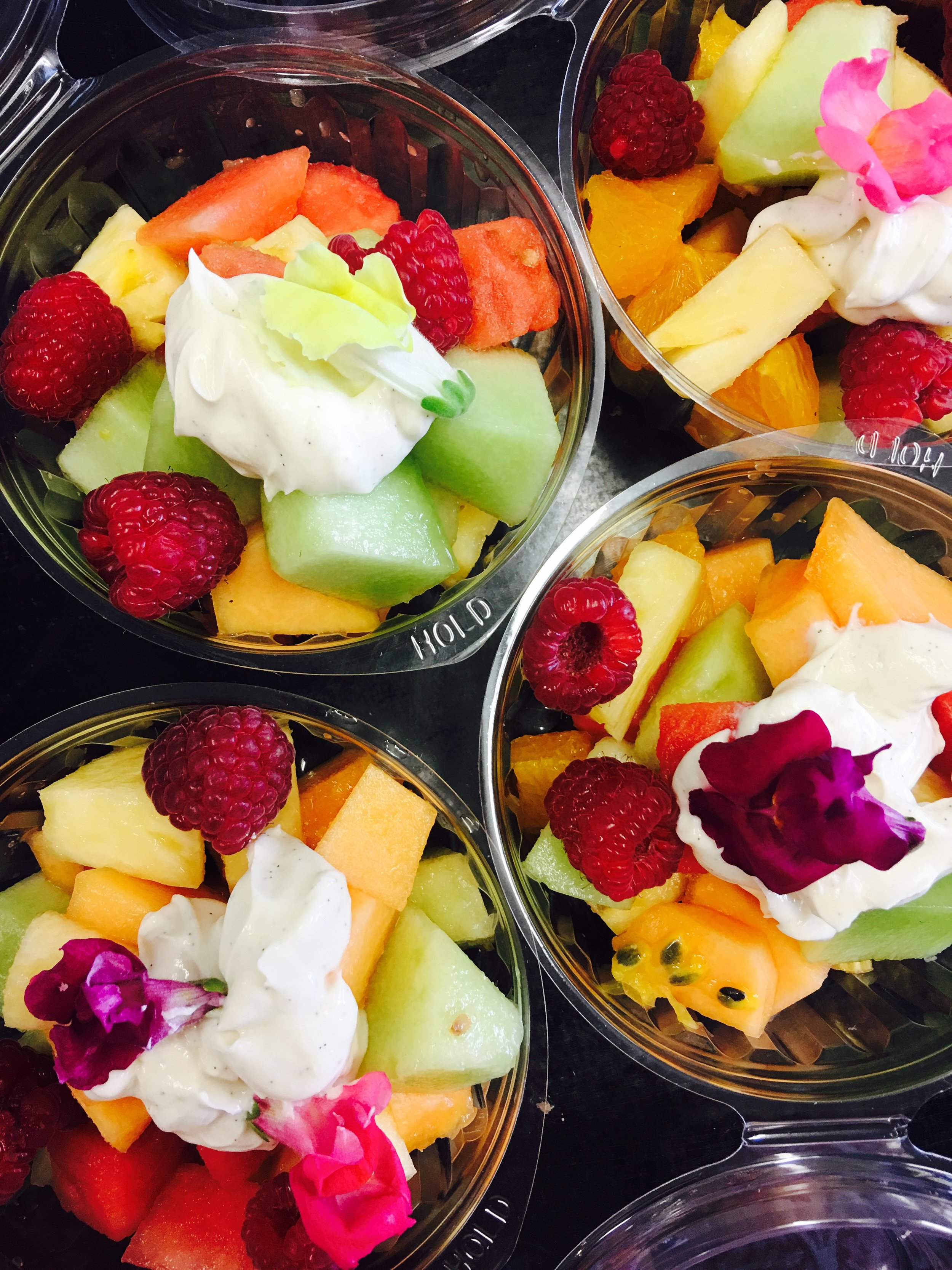 Fruit salad with flowers