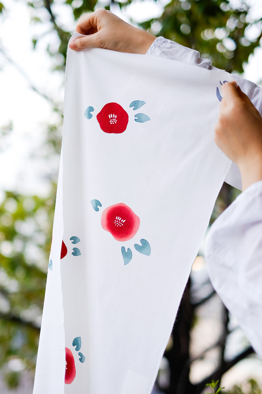[sold]   Camellia Tenugui/$15.5   Hand wash for best result