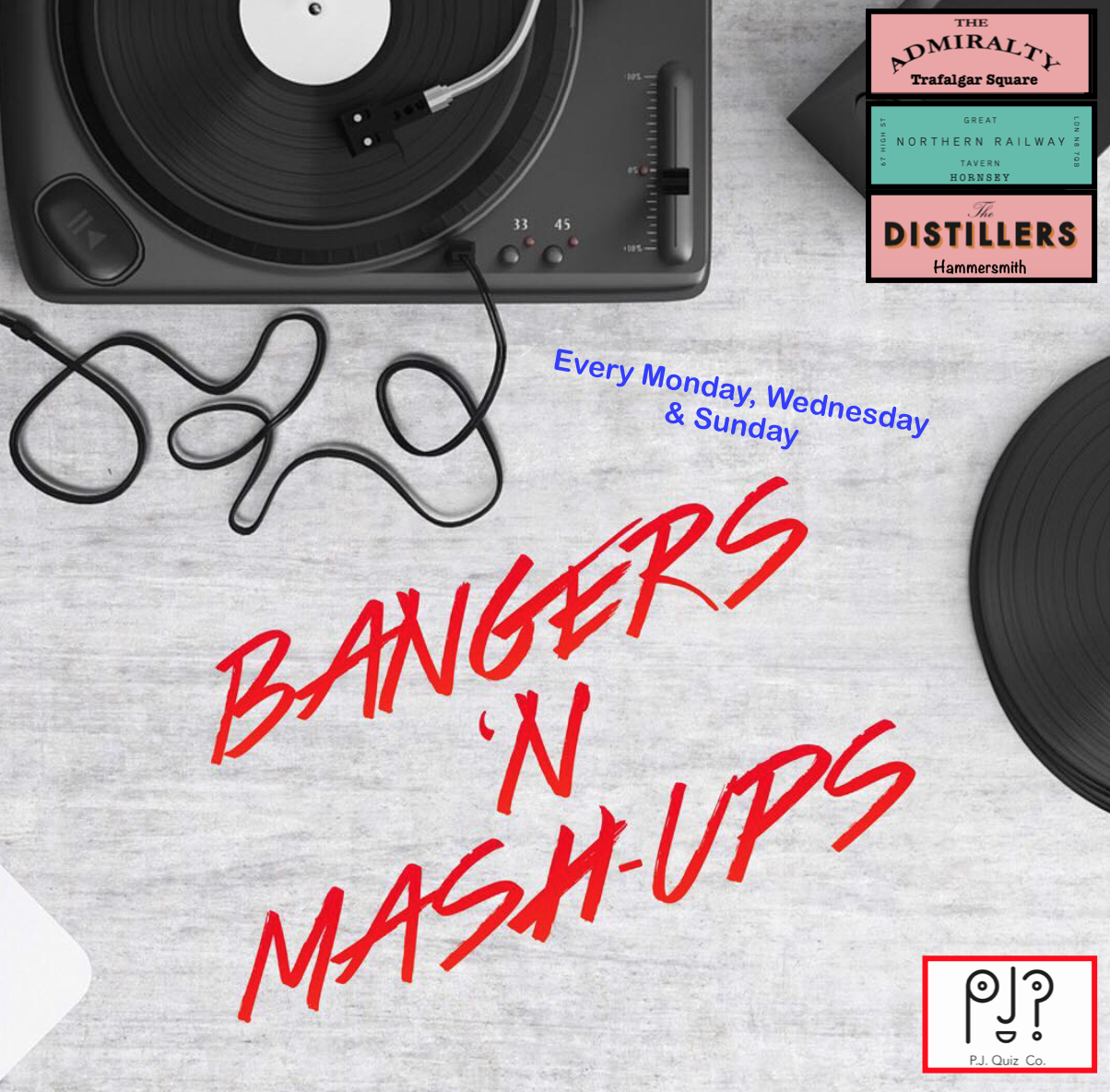 Our Famous Mash Up Music Round.  I have been doing this since my very first Quiz in 2010. Here, 2 Songs are mashed together over 5 Mash Ups each week. Keeps Bringing teams back & showcases some of my finest Dad Dancing moves as a Quiz Host & Entertainer! Expect random mixes like Nena with Jay Z or Linkin Park with Celine Dion. It really is a treat for the ears!  Featured on Mondays (At the Admiralty, Trafalgar Square), Wednesdays (at the GNRT in Hornsey) & on Sundays (at the Distillers in Hammersmith).