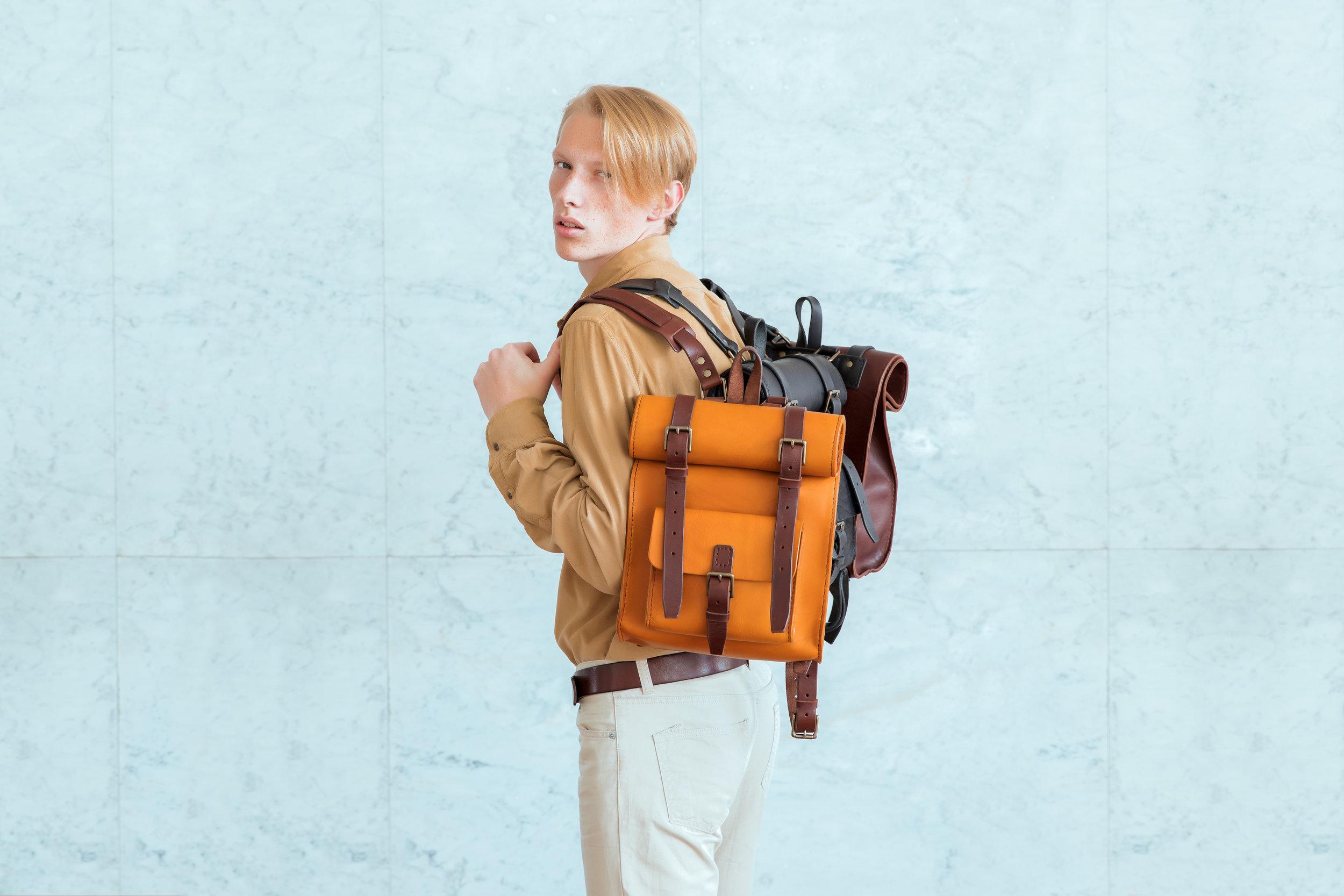 Post-soviet fashion leather backpacks