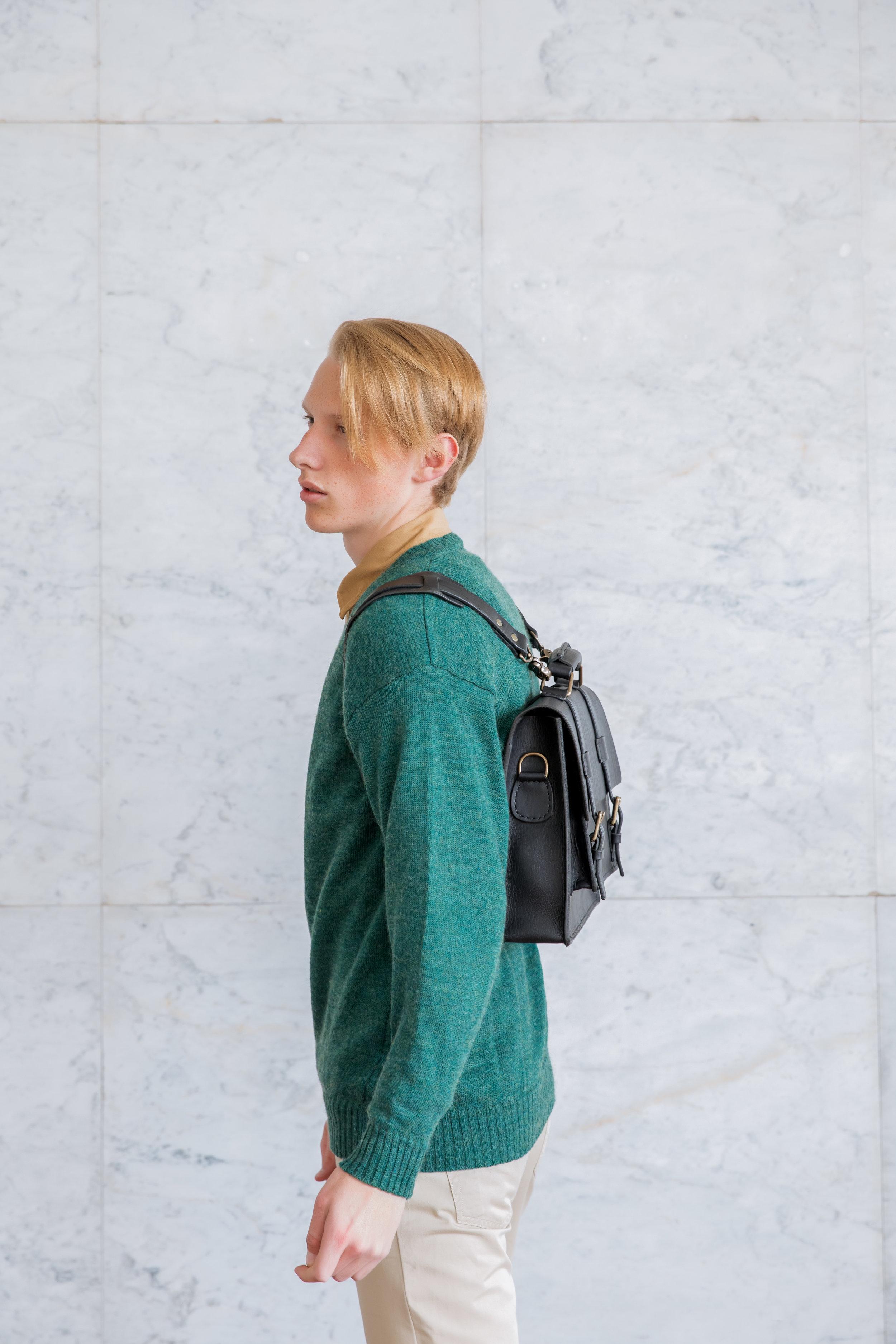 Convertible messenger bag on boy
