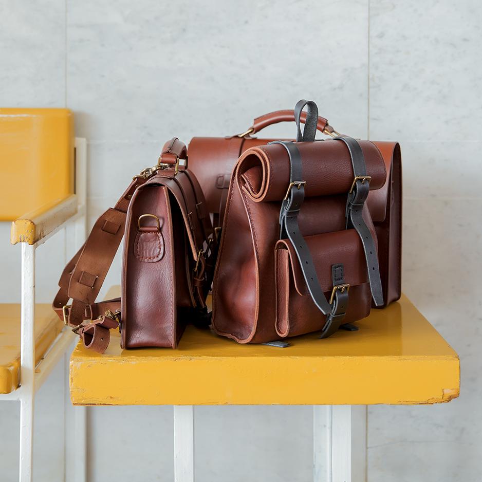 Chestnut handmade vegetable tanned rucksack and convertible messenger