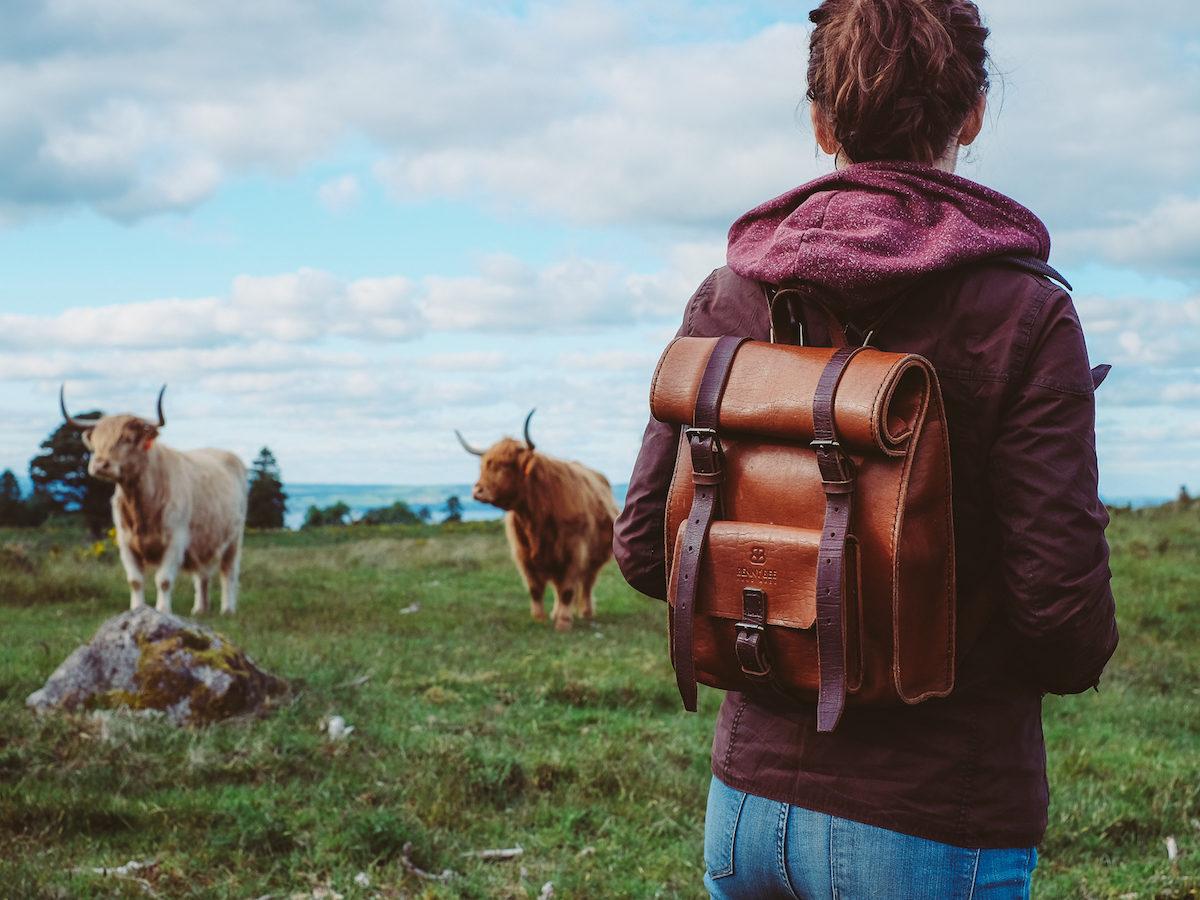 Handmade leather rucksack in Scotland
