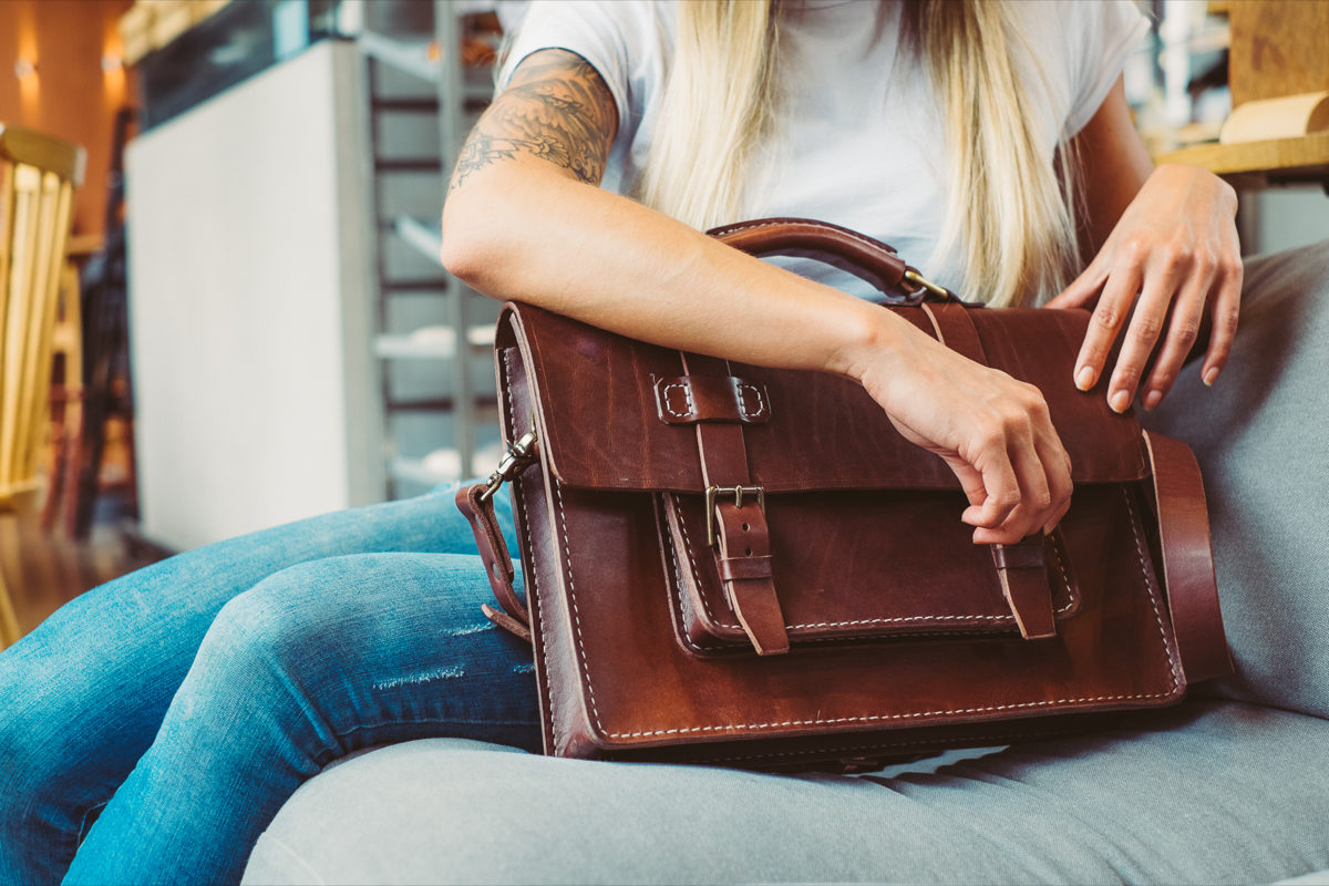 Luxury handmade leather briefcase in brown