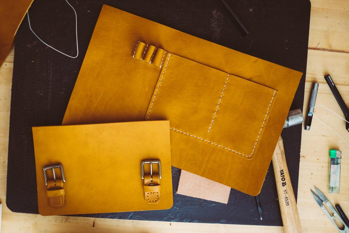 Luxury leather bag being handmade in sustainable workshop