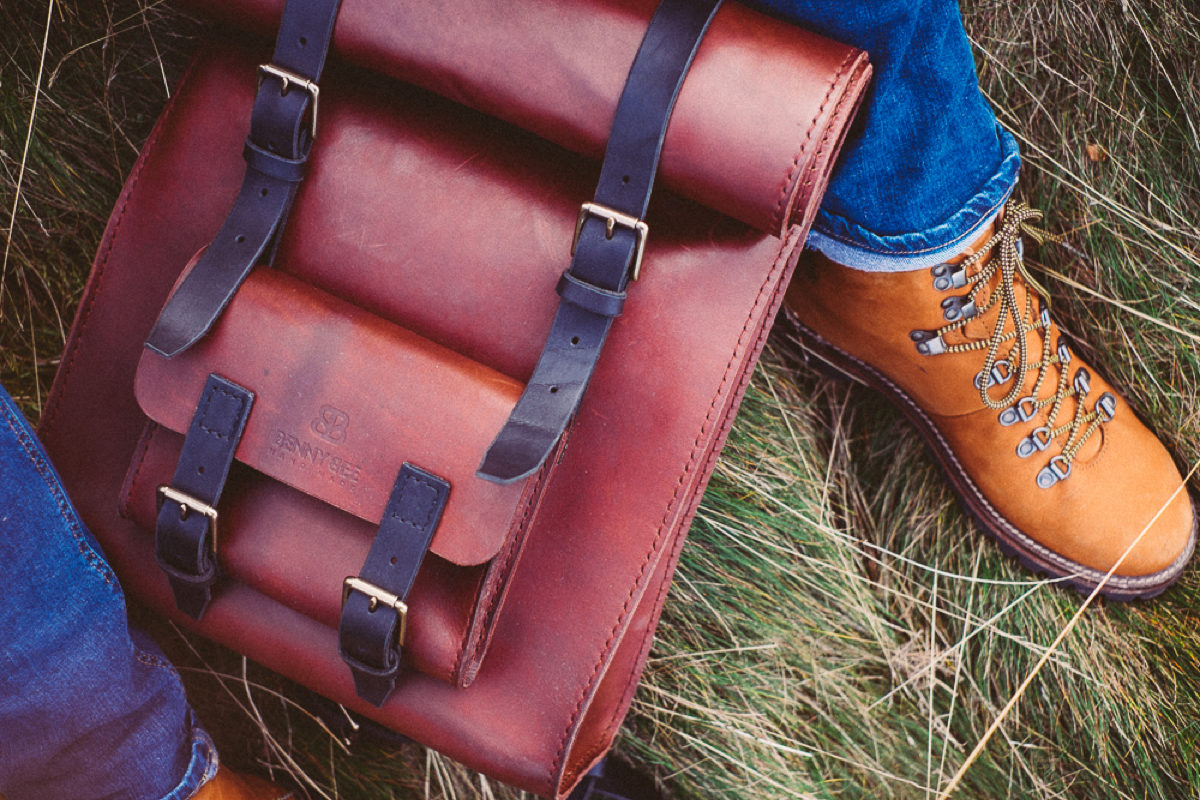 Hipster roll top rucksack handmade with full grain leather