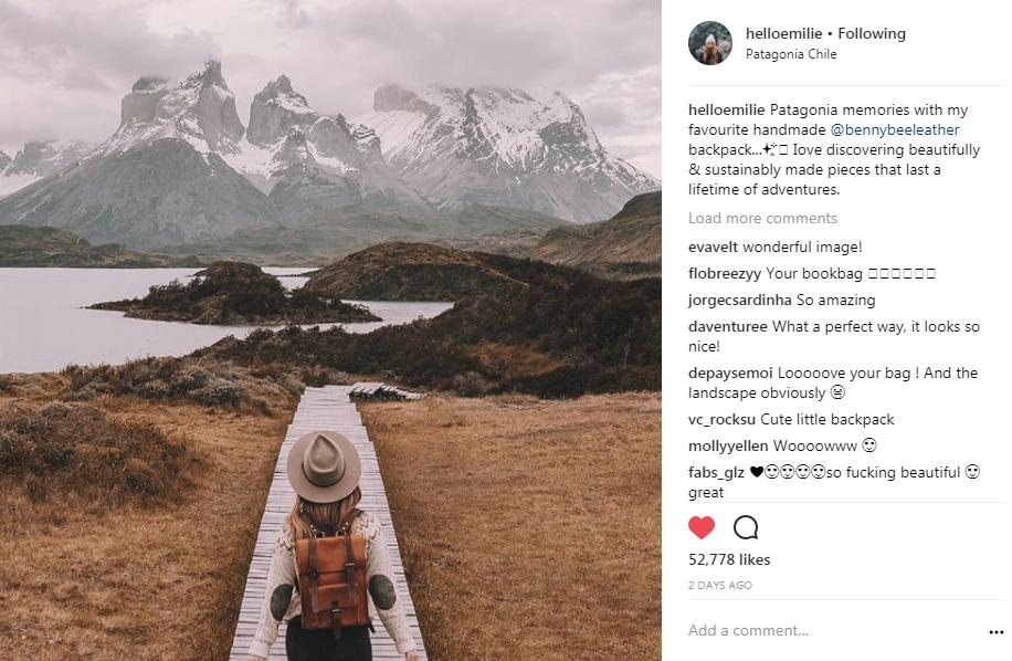 BennyBee rucksack feature on Hello Emilie Instagram