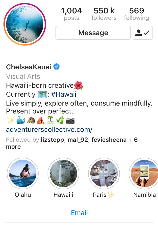 Chealsea Kauai instagram profile